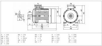 Elektromotor MS100 výkres