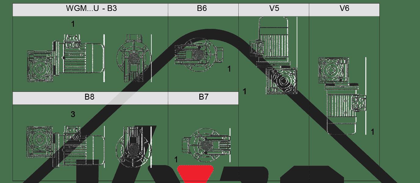 montážní poloha převodovka WGM025