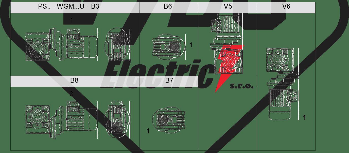 monážní poloha WGMHS převodovka WGM025