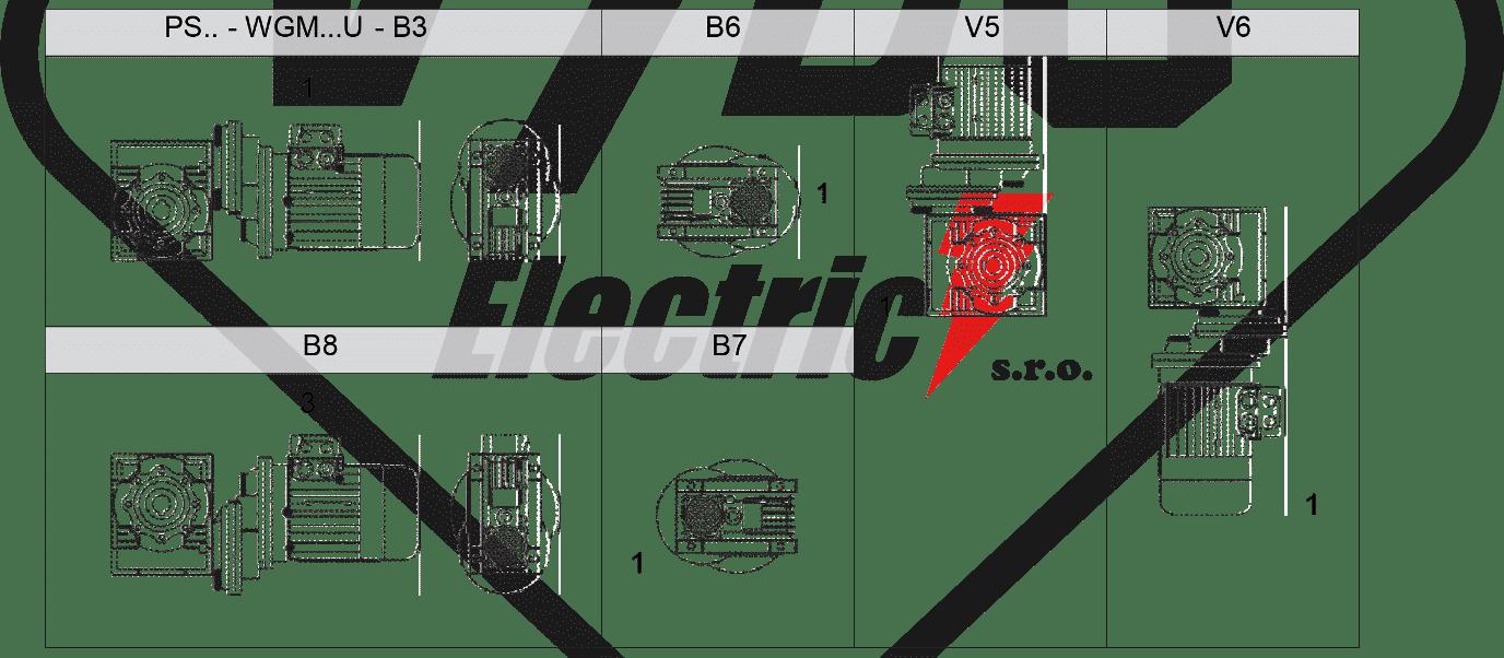 montážní poloha mazání šneková převodovka WGMHS063