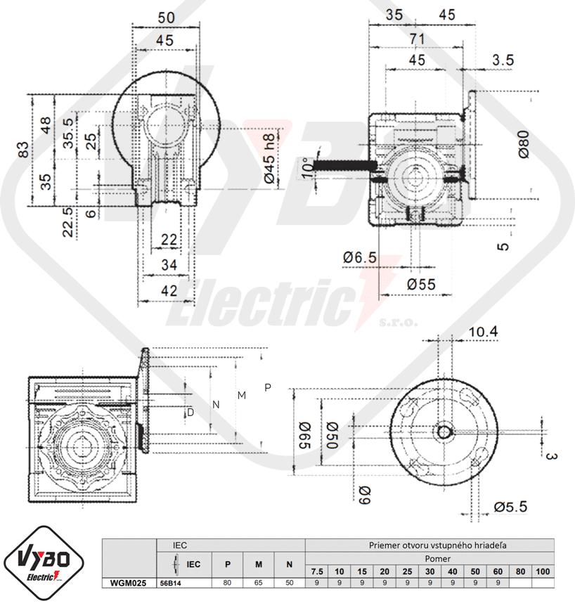 rozměrový výkres převodovka WGM025