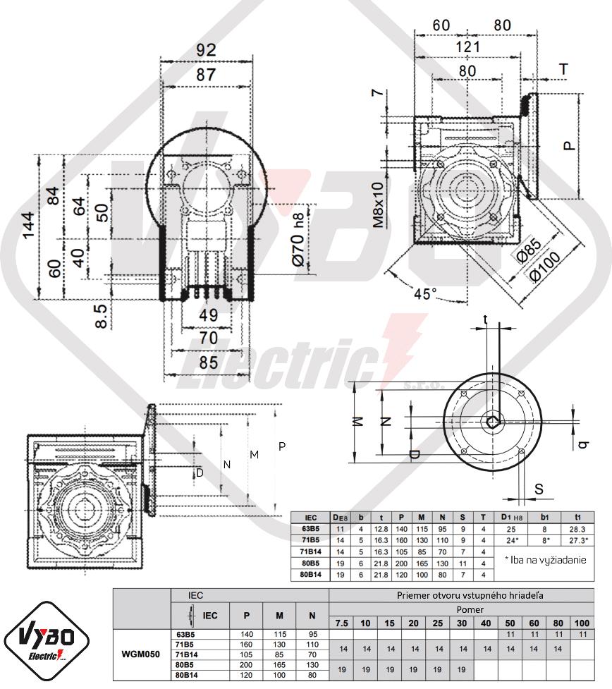 rozměrový výkres šneková převodovka WGM050