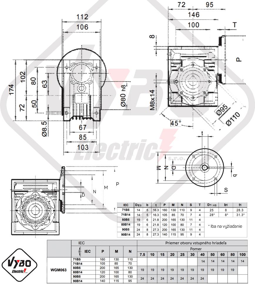 rozměrový výkres mazání šneková převodovka WGM063