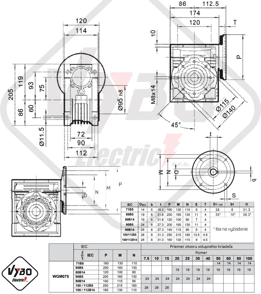 rozměrový výkres šneková převodovka WGM075
