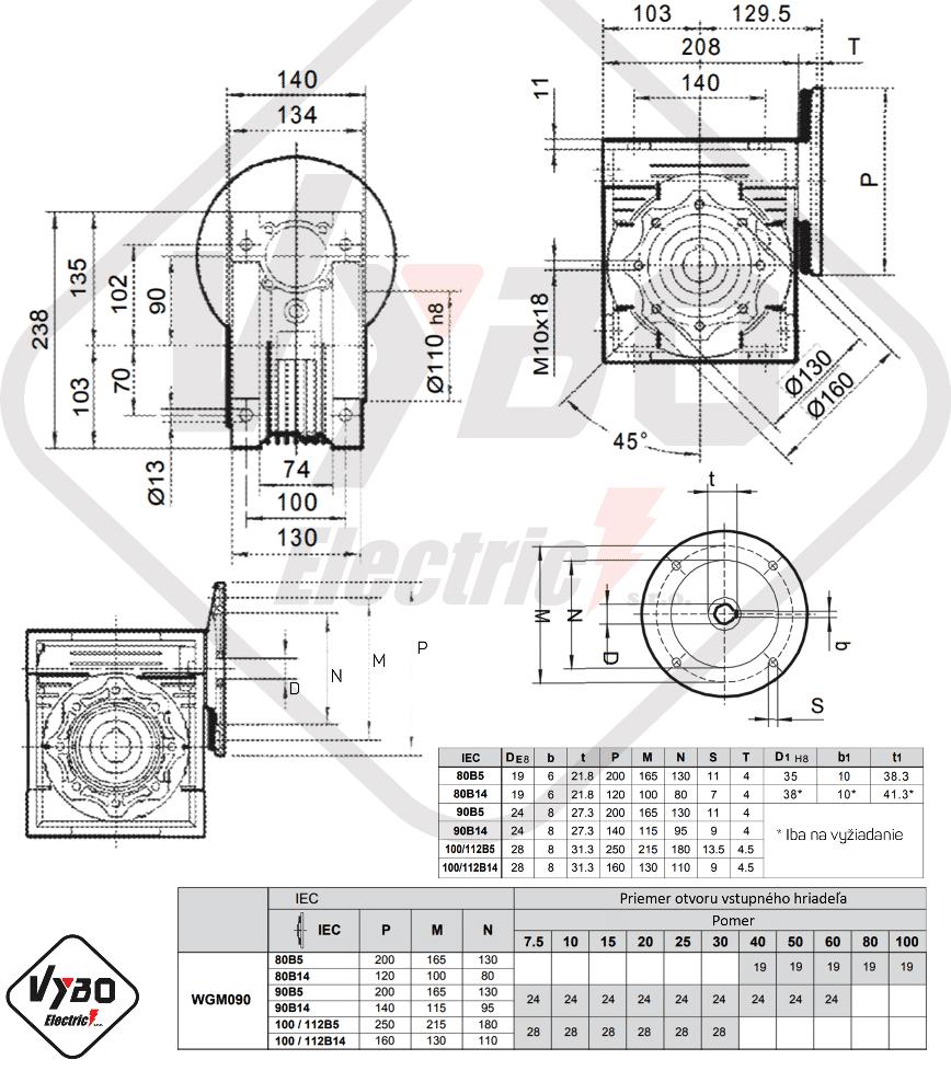 rozměrový výkres šneková převodovka WGM090