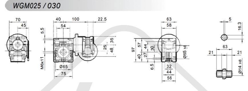 tabulka převodovka šneková převodovka WGM030