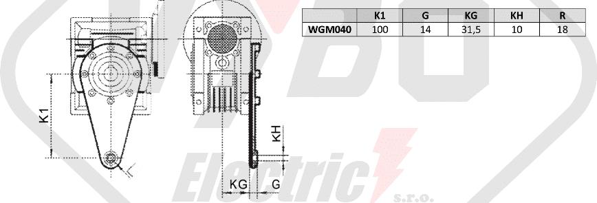 torzní rameno šneková převodovka WGM040