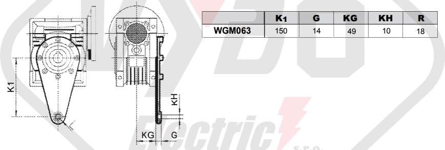 torzní rameno mazání šneková převodovka WGM063