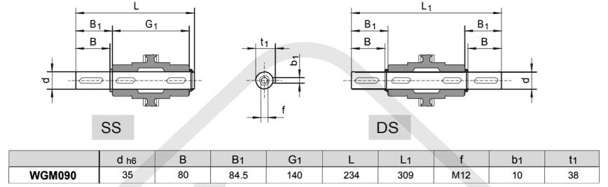 výstupní hřídele šneková převodovka WGM090