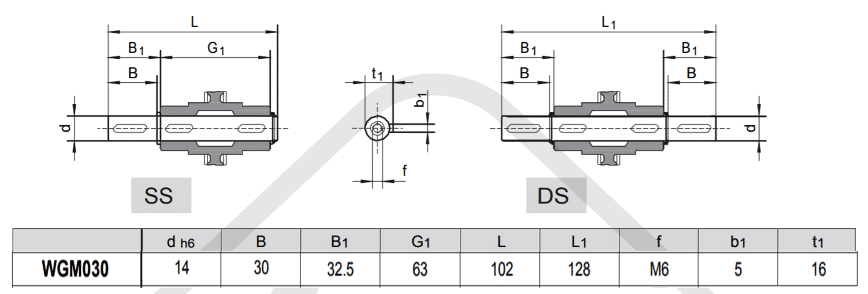 výstupní hřídele šneková převodovka WGM030