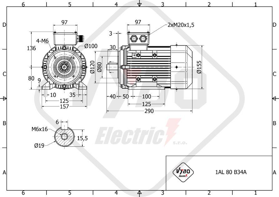 rozměrový výkres elektromotor 0,18kw 1AL80S-8