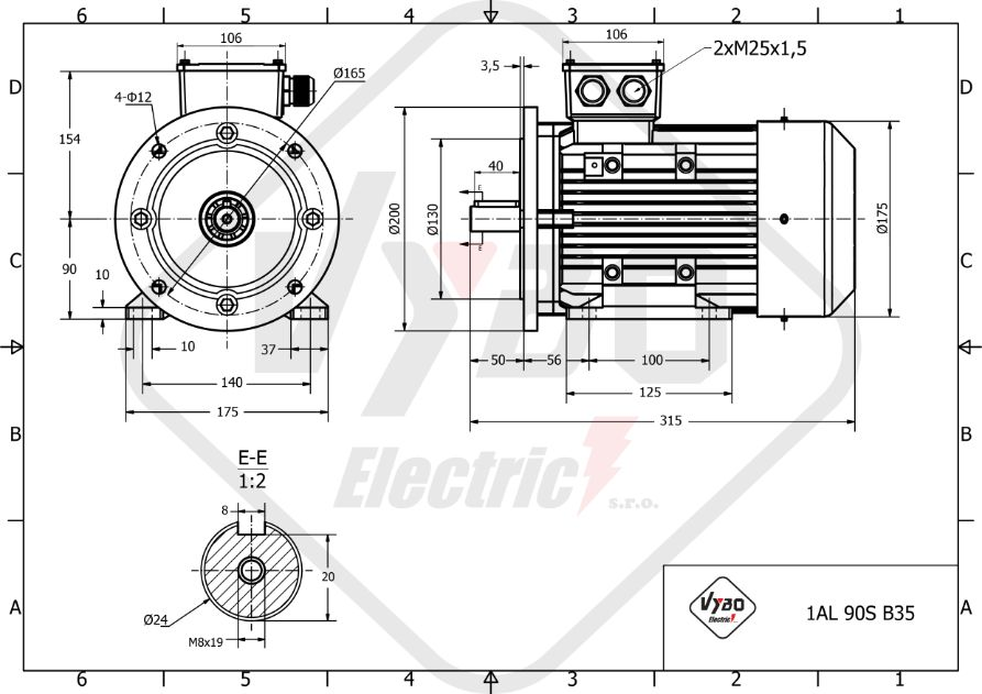 rozměrový výkres elektromotor 0,37kw 1AL90S-8