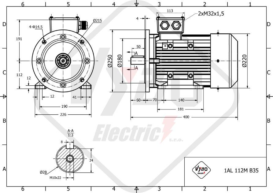 rozměrový výkres elektromotor 1,5kw 1AL112M-8