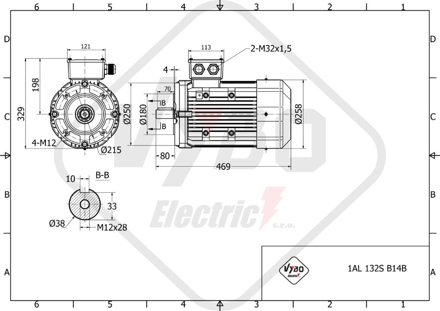 rozměrový výkres elektromotor 3,0kw 1AL32S-8