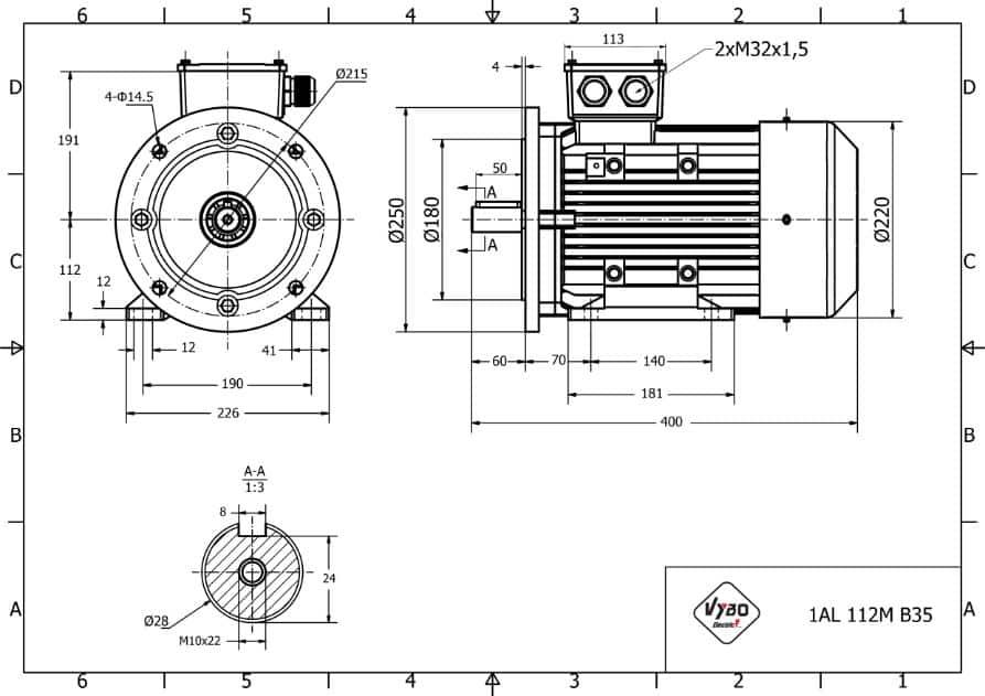rozměrový výkres elektromotor 4w 1AL112M-4