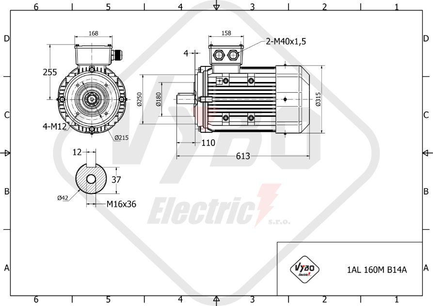 rozměrový výkres elektromotor 4,0kw 1AL160M-8
