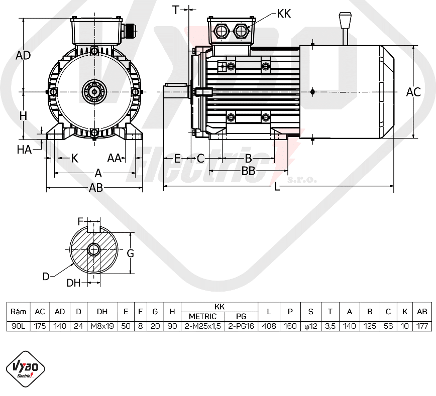 rozměrový výkres brzdový elektromotor 1ALBR90L-6