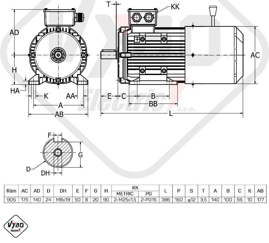 rozměrový výkres elektromotor s brzdou 1ALBR90S-2