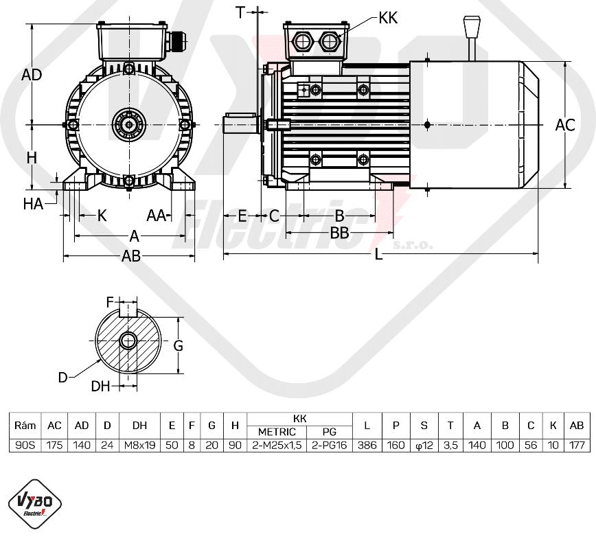 rozměrový výkres elektromotor s brzdou 1ALBR90S-4