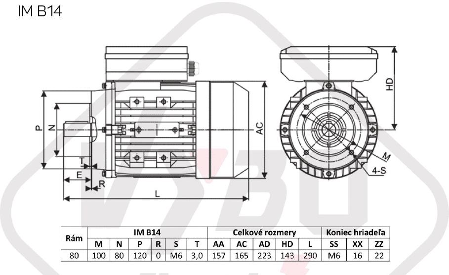 rozměrový výkres jednofázový elektromotor 230V 0,75kw 1ALJ802-4