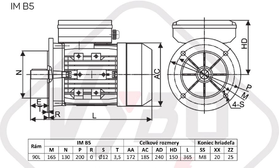 rozměrový výkres jednofázové elektromotory 230V 1,1kw 1ALJ90L1-4